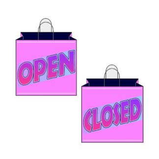 Pink Shopping Bag Open Closed Signs