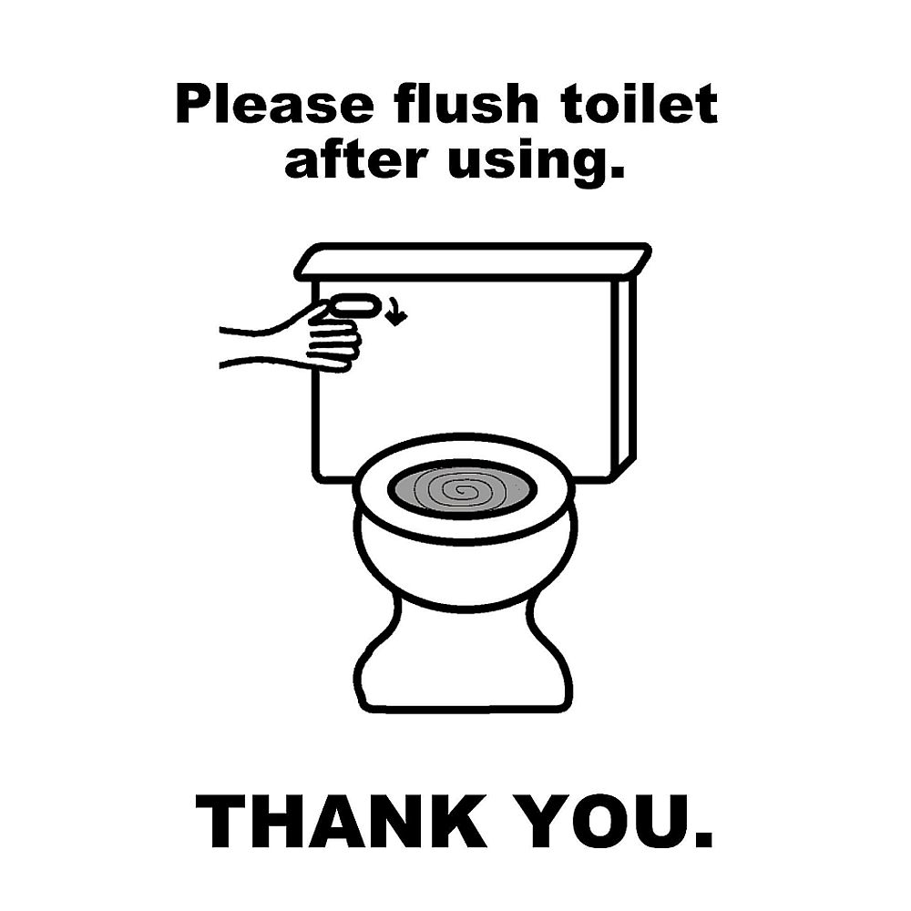 Please Flush Toilet Sign Black And White Mayda Mart