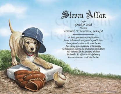 Baseball Puppy Name Art with First and Middle Names