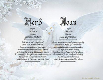 Wedding Doves Name Art two