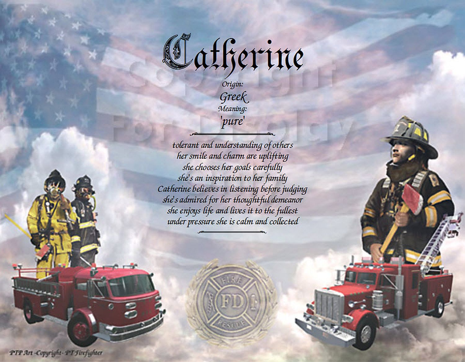 Firefighter Personalized Name Art