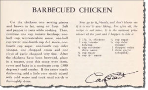 Cary Grant Barbecue Chicken Recipe