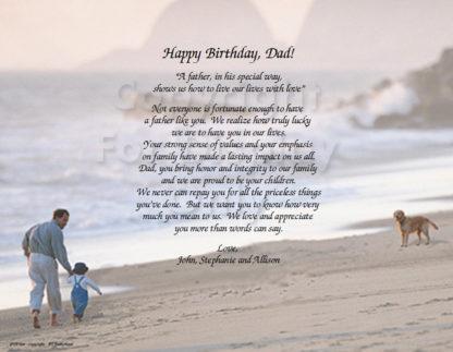 Dad Special Birthday Poem Art from Kids