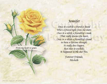 Yellow Rose Friendship Poem Art