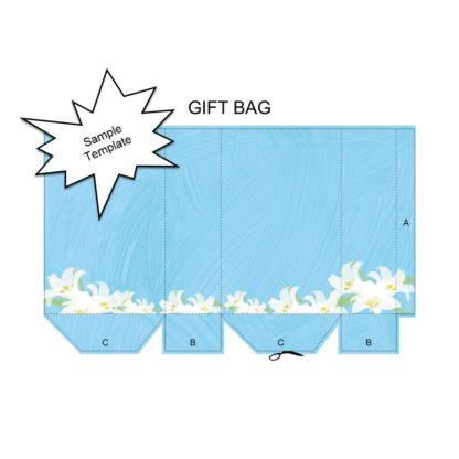 Blue Brushstroke Lilies Sample Gift Bag Template