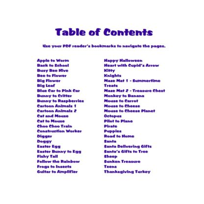 Colorful Kids Mazes Table of Contents