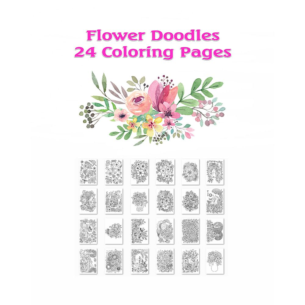 Flower Doodles 24 Coloring Pages Printable Pdf Mayda Mart