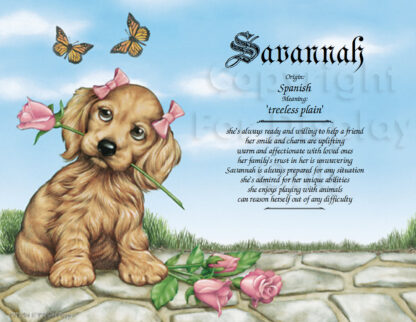 Girl Puppy First Name Meaning Art Sample 1
